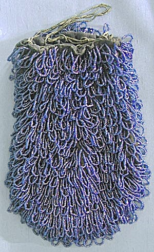 Vintage Cobalt Blue Glass Beaded Reticule Purse (Image1)