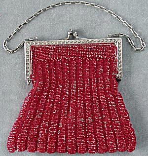 Vintage Red Glass Beaded Purse (Image1)