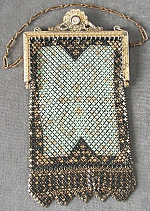 Mandalian Enameled Art Nouveau Mesh Purse