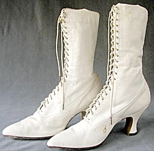 "Victorian 11"" Tall White Leather Lace Up Boots (Image1)"