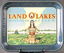 Vintage Land O'lakes Butter Metal Tray