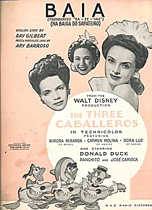 Baia From Walt Disney The Three Caballeros Sheet Music