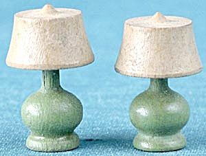 Strombecker Wooden Green Table Lamps Set Of 2