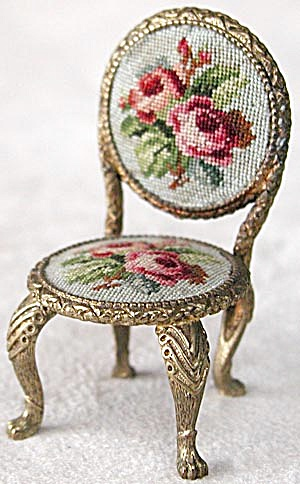 Vintage Gilt & Petit Point Miniature Chair