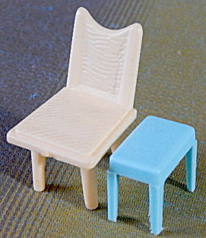 Vintage Plastic Dollhouse Tub Chair & Table