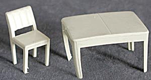 Vintage Plastic Dollhouse Table & Chair (Image1)