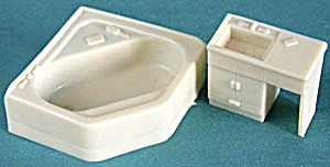 Vintage Plastic Dollhouse Superior Bathroom Sink & Tub