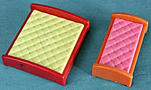 Vintage Plastic Dollhouse Beds Pair