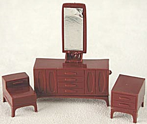 Vintage Plastic Dollhouse Mirrored Dresser & End Tables