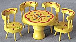 Vintage Painted Wood Dollhouse Kitchen Table & Chairs