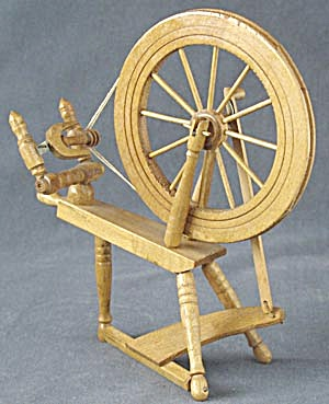 Vintage Dollhouse Wooden Spinning Wheel