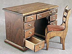 Vintage Wooden Doll Desk and Chair (Image1)