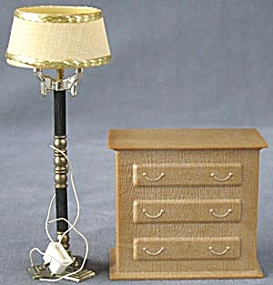 Vintage Dollhouse Lamp & Dresser Battery Box Holder