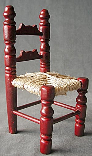 Wooden Doll Chair With Woven Seat