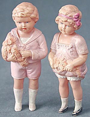 Vintage German Celluloid Boy & Girl Dolls