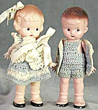 Vintage Knickerbocker Plastic Doll Couple