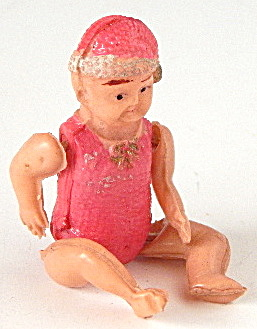 Antique Celluloid Jointed Doll Embossed Clothes