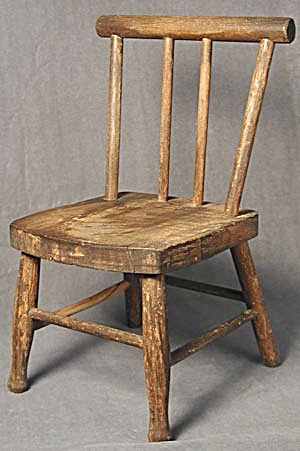 Rustic Wood Doll Chair Vintage (Image1)