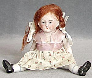 Vintage Small Bisque Red Hair German Doll
