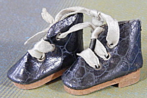 Vintage Black Alligator Pattern Lace Up Doll Shoes