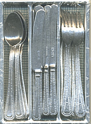 Vintage German Doll Size Silverware and Holder (Image1)