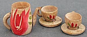 Dollhouse Carved Wood Tea Set