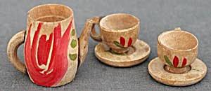 Dollhouse Carved Wood Tea Set (Image1)