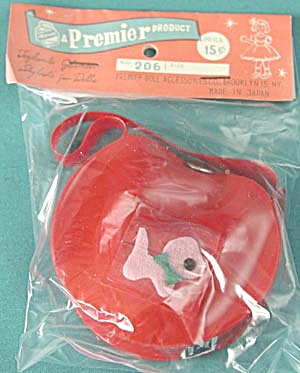 Vintage Red Vinyl Doll Purse In Original Package