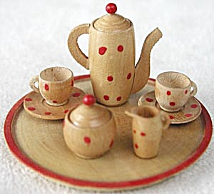 Vintage German Miniature Carved Wood Tea Set