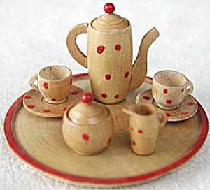 Vintage German Miniature Carved Wood Tea Set (Image1)