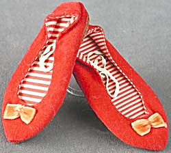 Vintage Chatty Cathy Red Velvet Shoes