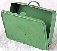 Vintage Toy Green Metal Suitcase For Doll