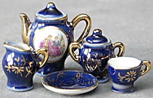 Vintage Miniature Cobalt & Gold Tea Set  (Image1)