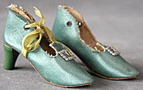 Vintage Boudoir Doll Green Satin Shoes (Image1)