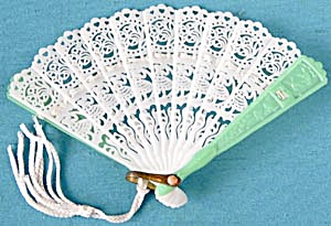 Vintage Miniature Lacy Fan For Doll