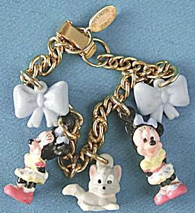 Vintage Applause Disney Minnie Mouse Charm Bracelet