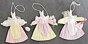 Set of 3 Bunny Ladies Ornaments (Image1)
