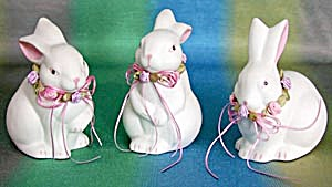 3 White Bisque Bunnies With Ribbon Garland