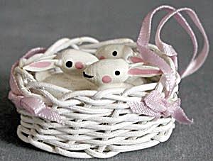 Vintage Basket of Easter Bunnies Ornament (Image1)