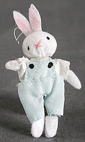 Easter Bunny Flocked & Cloth Ornaments Set of 3 (Image1)