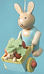 Wooden Bunny Pushing Wheelbarrow (Image1)
