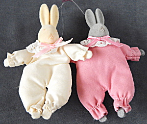 Vintage Flocked Bunny Ornaments Pair