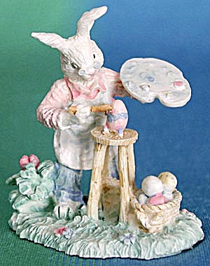 White Bunny Rabbit Painting Figurine (Image1)