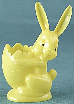 Vintage Yellow Plastic Bunny Candy Container (Image1)