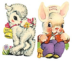 Vintage Easter Cards: Lamb and Bunny (Image1)