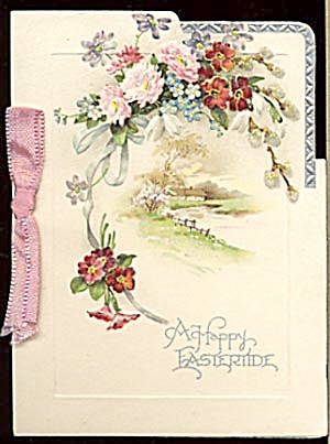 Vintage Easter Card: Roses & Pussy Willows (Image1)
