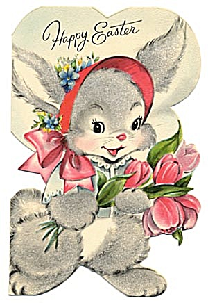 Vintage Easter Card: Fuzzy Bunny (Image1)