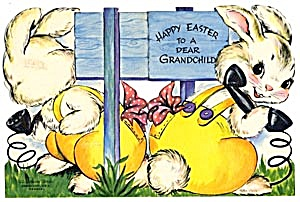 Vintage Easter Card: Bunny on Telephone (Image1)