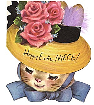 Vintage Easter Card: Bunny Wearing Hat (Image1)