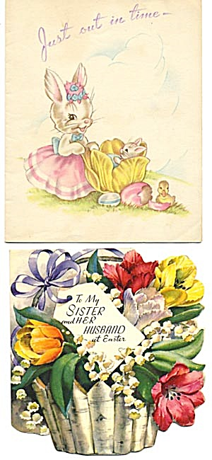 Vintage Easter Cards: Flower Basket and Bunnies (Image1)